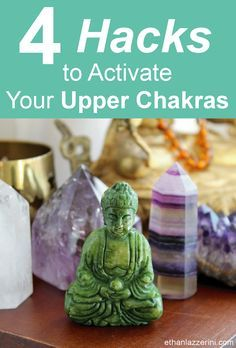 Chakra Crystals: Learn the Chakra Hacks to activate ALL your Upper Chakras with just ONE crystal. Awaken your spiritual power, sharpen communication skills and enhance your intuition with any of these four powerful chakra crystals!  #chakras #crystalhealing #yoga