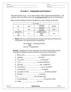 Spanish regular -IR verbs worksheet conjugation & translation ...