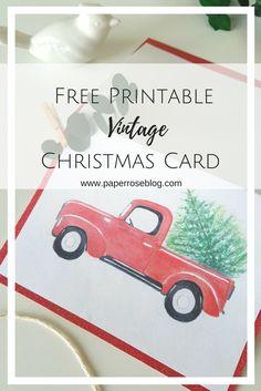 2017 Free Printable Handmade Vintage Holiday Red Truck Handmade Christmas Card Template