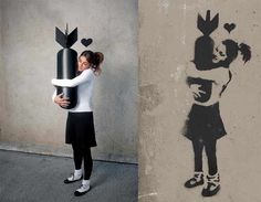 "Nick Stern's ""You Are not Banksy"" series, recreating the famous graffiti artist's work with real people"