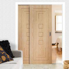 Easi-Slide OP3 Oak Altino Flush Sliding Door System in Three Size Widths and sliding track frame. #oakslidingdoors #modernslidingdoors #easlislides