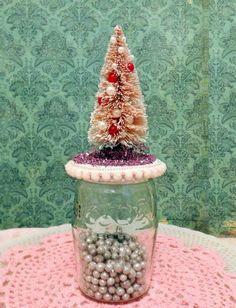 Pink Shabby Bottle Brush Tree Jelly Jar Snow globe-Melissa Frances Trim-Glitter