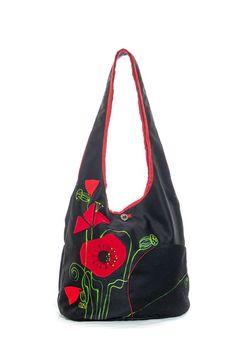 Apliqued hand painted romantic poppy flowers / poppies shoulder bag, chic messenger, fantasy, summer spring bag, girlish, red black on Etsy, $48.61