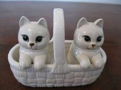 Vintage Cats in Basket Salt and Pepper Set by StitchesAndRibbons, $14.50