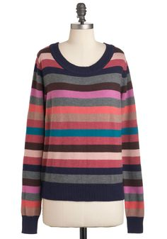 Line of Versicolor Sweater - Mid-length, Multi, Stripes, Long Sleeve, Multi, Casual, Fall