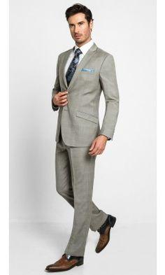 2 Button Peak Slim Tartan-Tan Men's Suit