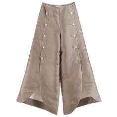 Gayeon Lee Overlapped Button Trouser (10.944.600 IDR) ❤ liked on Polyvore featuring pants, gold, brown pants, loose fit pants, loose pants, loose fitting pants and gold pants