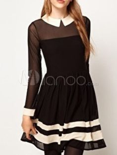 Lovely Black Cotton Blend Semi-sheer Long Sleeves Skater Dress - Milanoo.com