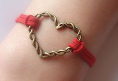 Braceletantique bronze large heart bracelet& Red by Especially2U, $1.99