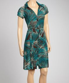 Take a look at this Aqua & Brown Geometric Shirt Dress by Glory Fashions on #zulily today!