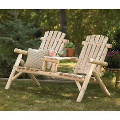 Double Cedar/fir Log Adirondack Chair With Table, Model# Ss-csn-150