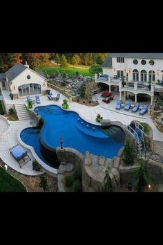 Looking for some 'poolspiration' for your backyard? A pool like this one looks like a ton of fun! by getphin Creative backyard pool designs. Future House, My Pool, Pool Spa, Beautiful Pools, Beautiful Things, Amazing Things, House Beautiful, Beautiful Images, Beautiful Gardens