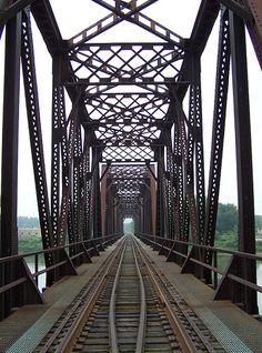 railroad tracks--perspective on a bridge.