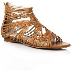 Tan Rumourhasit sandals ($55) found on Polyvore