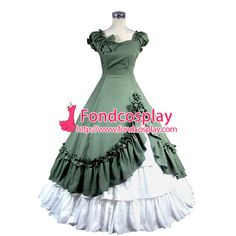 Free Shipping Gothic Lolita Punk Medieval Gown Green and White Ball Long Evening…