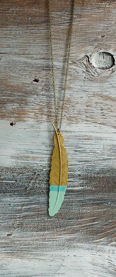 Mint Green Gold FEATHER Pendant  $30.00