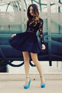 Black lace and baby blue.