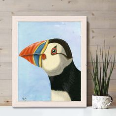 Puffin Art print - Puffin Portrait - Wall Art puffin print sea bird print Nursery Art for Kids Room Decor Nautical kids room Coastal art