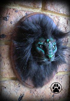 Forest guardian lion wall art sculpture OOAK. by CreaturesofNat, $99.00