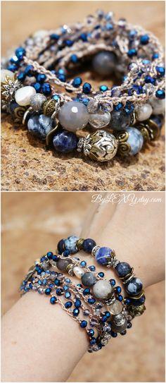 """Set of 3 Boho Chic """"Blue Mountains"""" Wrap Stack Bracelets,Bohemian Rustic Gypsy Royal Navy Blue Crystal Layer Multistrand Jewelry Gift ByLEXY #bohochic, #bohemian, #bohemianjewelry, #bohochic, #gypsy, #gypsysoul, #stackbracelet, #setofbracelets"""