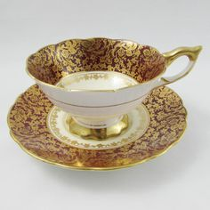 Royal Stafford Tea Cup and Saucer Red with Gold Chintz