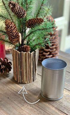 Upcycled Crafts, Diy Home Crafts, Rope Crafts, Recycled Tin Cans, Tin Can Crafts, Tin Can Diy Projects, Glue Gun Crafts, Diy Planters, Handmade Home