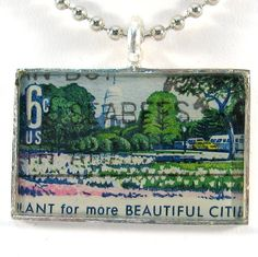 Vintage US Postage Stamp Pendant Necklace  Plant for more Beautiful Cities by 12be, $14.50