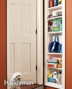 Stud Space Shallow Cabinet - remove the drywall between two studs and construct a shallow cabinet to fill the space. 12 Simple Storage Solutions