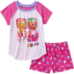 Shopkins Girls' Ruffle Sleeve Top and Short Sleepwear Set