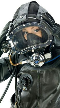 Women in Kirby Morgan diving helmet