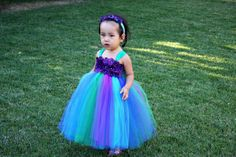 toddler dress in peacock colors | purple turquoise peacock inspired girls tutu dress this tutu dress was ...