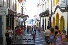 Side street cafe's in Ponta Delgada, Sao Miguel, Azores.~ I've never met an Acoriano that I didn't like ('cept my cousin Tony) LOL Portugal, Vacation Destinations, Dream Vacations, Beautiful Islands, Beautiful Places, Ponta Delgada, Portuguese Culture, A Whole New World, Travel Abroad