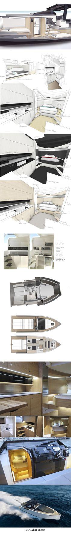 #DeAntonio #Yacht's sleek Interior - Designed by Ubica-id.  Nic@Pureyacht.com #OwnYourRefit www.pureyacht.com #BoatbuildingShops