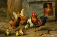 """""""A Cockerel with Chickens"""" by  Edgar Hunt"""