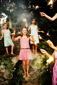 Stock Photo : Sparklers on 4th of July