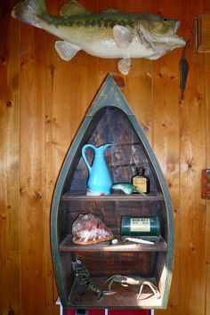 Decorating With Fishing Collectibles I Have Dad S Mounted Bass He Caught