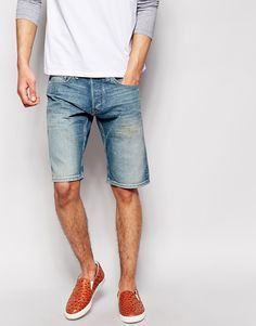 "Denim shorts by Quiksilver Pure-cotton denim Concealed zip fly Five pocket styling Straight fit - cut with a straight leg Machine wash 100% Cotton Our model wears a 32""/81cm regular and is 6'2""/188 cm tall"