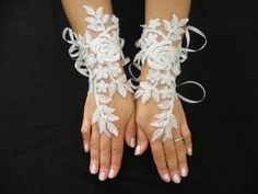 White Beaded Lace Handmade Long Fingerless Wedding by CeAndBo