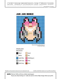 Jar Jar Perler Bead Coaster | May the Fourth be with You Party