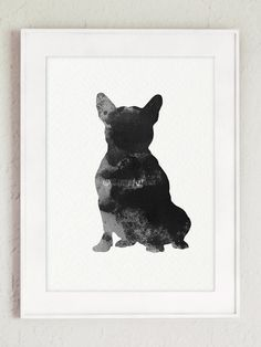 Frenchie Giclee Print, Dog Poster, French Bulldog silhouette, Black and gray painting, Gifts for him, Art decor by ColorWatercolor on Etsy
