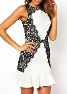 Special Flouncing Design Round Neck Dress with Lace
