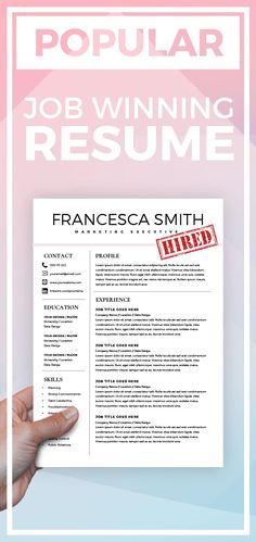 Resume Template With Headshot Photo  Cover Letter  Page Word