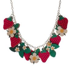 Strawberry Plant Charm Necklace | Punky Pins