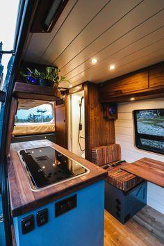 Van Conversion Interior, Camper Van Conversion Diy, Van Interior, Camper Interior, Van Conversion With Bathroom, Van Conversion Kitchen, Van Life, Big Van, Build A Camper