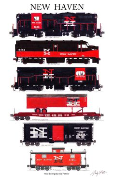 """An 11""""x17"""" poster with some of Andy Fletcher's hand drawings of New Haven freight locomotives and rolling stock."""
