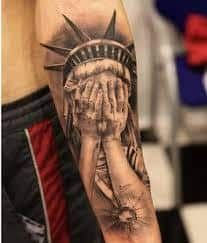 What does statue of liberty tattoo mean? We have statue of liberty tattoo ideas, designs, symbolism and we explain the meaning behind the tattoo. Statue Of Liberty Tattoo, Portrait, Tattoos, Design, Ideas, Tatuajes, Headshot Photography, Tattoo