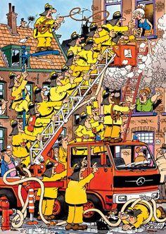 Dit meisje heeft helemaal geen hulp nodig want haar huis staat niet in de brand. Maar de brandweermannen staan erop om haar te helpen. Van de straat staan er veel mensen te wijzen dat ze helemaal niet dat meisje hoeven te helpen maar de vrouw die een verdieping lager woont. Er is natuulijk ook altijd wat op de puzzels van Jan van Haasteren. Koop dus nu een van de grappigste puzzels van Nederlandse bodem bij puzzlestore.nl