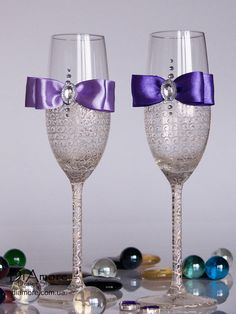 LACE  Ivory & purple champagne flutes /  Wedding by DiAmoreDS, $47.00