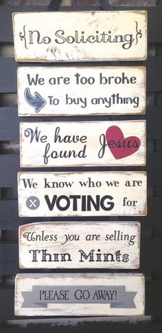 No soliciting sign, home decor, funny no solicting signs, shabby chic signs, made from reclaimed pallet wood no soliciting sign Rustic white sign made to protect your house from solicitors. It adds a touch of humor to the traditional Shabby Chic Signs, Shabby Chic Homes, Shabby Chic Decor, Rustic Decor, Farmhouse Decor, Farmhouse Signs, Rustic Wood, Home Decor Signs, Diy Home Decor