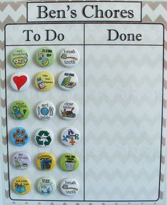 Cleaning Day Chore Magnets por SallySuesShop en Etsy
